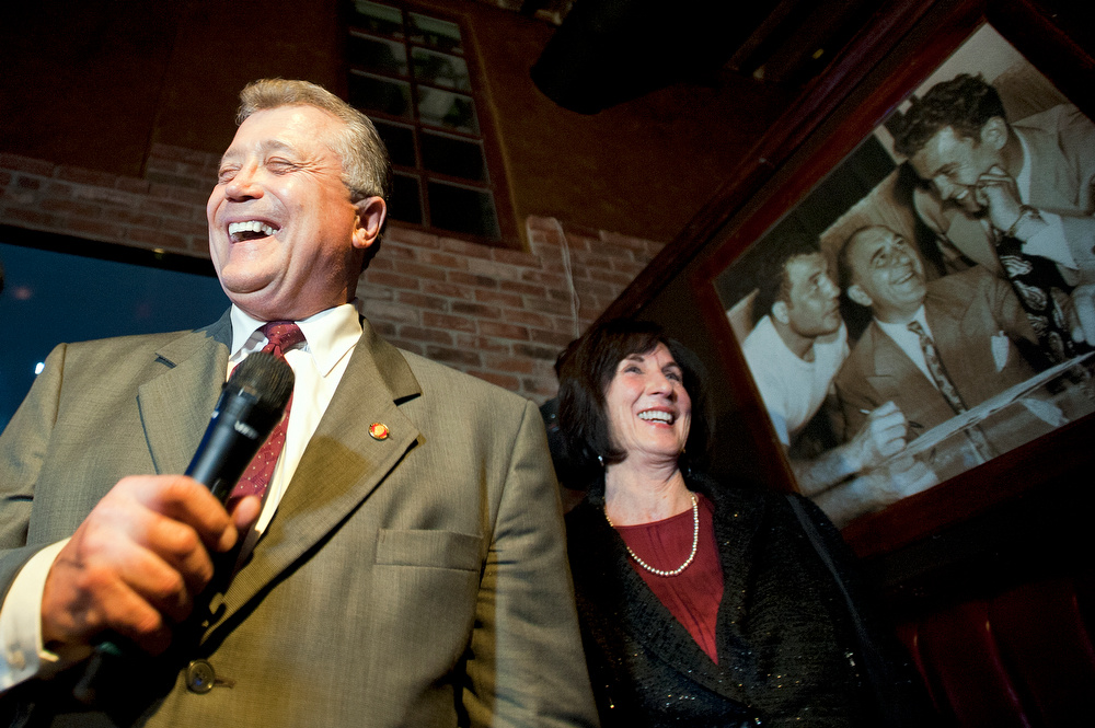 Los Angeles City Attorney Carmen Trutanich and his wife, Noreen, greet the crowd as he holds second place with more than 30 percent of votes after the first update of vote counting.
