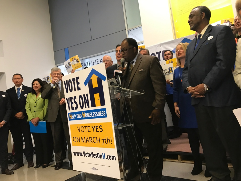 L.A. County Supervisor Mark Ridley-Thomas kicks off the campaign to raise L.A.'s sales tax to pay for homeless services.