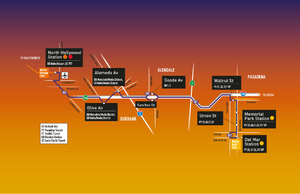 Metro's new express bus service makes six stops from North Hollywood to Pasadena.