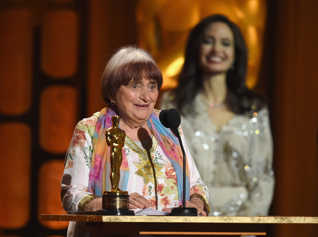 Director Agnes Varda, winner of the Honorary Award presented by Angelina Jolie, speaks onstage at the Academy of Motion Picture Arts and Sciences' 9th Annual Governors Awards at on November 11, 2017.