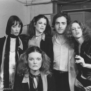 Guest Shelley Duvall, original SNL cast members Gilda Radner, Jane Curtin, Laraine Newman, and SNL producer Lorne Michaels.