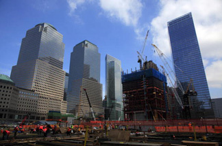 Workers continue construction on the World Trade Center site on July 15, 2010  in New York City.