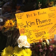 Makeshift memorial for Kim Pham