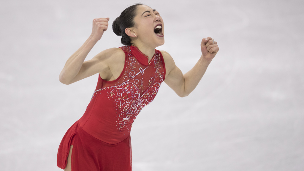 Mirai Nagasu exults after her performance on Monday in the U.S. figure skating team's bronze medal win at the Pyeongchang 2018 Winter Olympics at Gangneung Ice Arena.