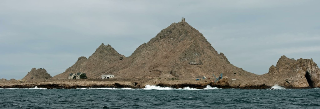 A panorama of the Farallon Islands. Scientists collecting data about birds on the island use about 25,000 gallons of water a year, in part by recycling water, and in part by showering less often.