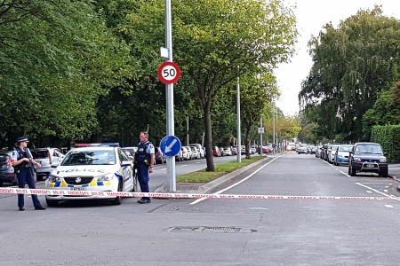 Police corden off the areas close to the mosque after a gunman filmed himself firing at worshippers inside in Christchurch on March 15, 2019.