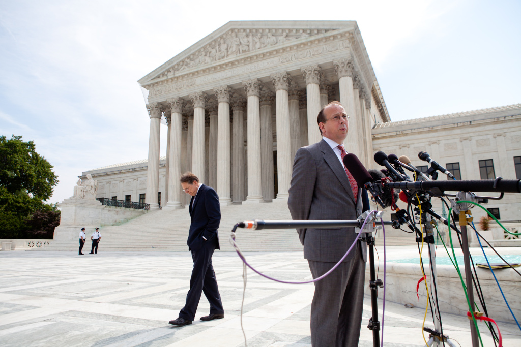 Paul Clement speaks at a news conference outside the US Supreme Court.