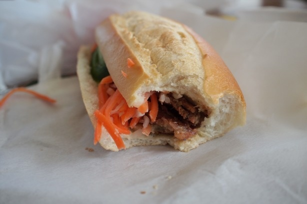 A grilled pork banh mi sandwich from at Banh Mi Che Cali.