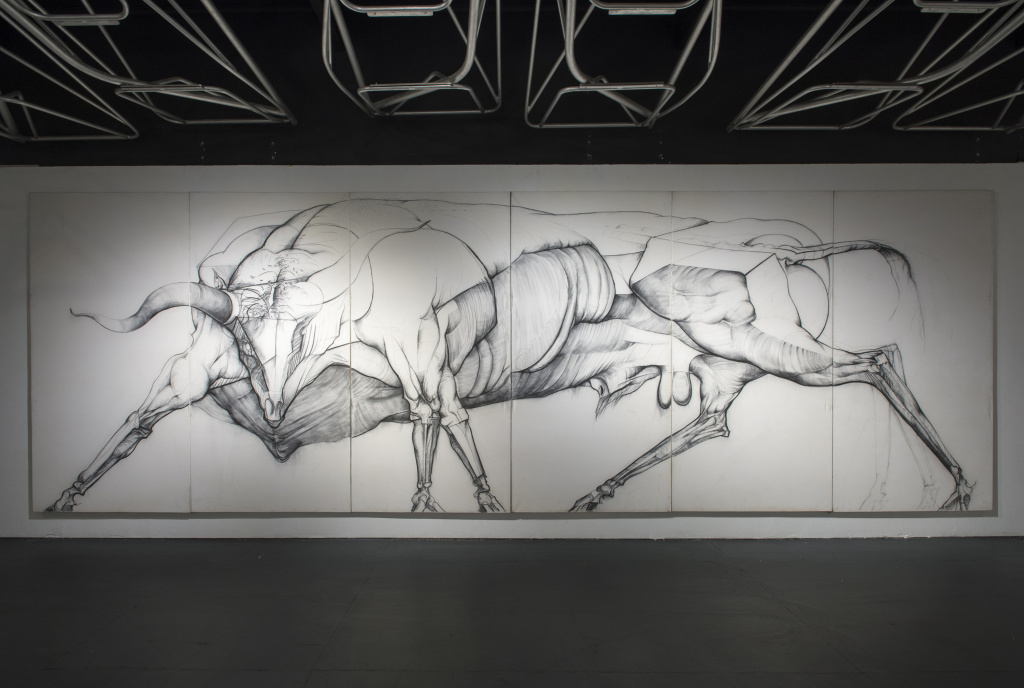 Jan Stussy: Untitled (large beast, six panels), c. 1975, charcoal on canvas, overall size: 8 x 24 feet, Woodbury University. At