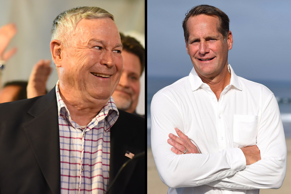 Republican Dana Rohrabacher, left, represents the 48th Congressional District, in Orange County. Democrat Harley Rouda, right, is challenging him in a tight race.