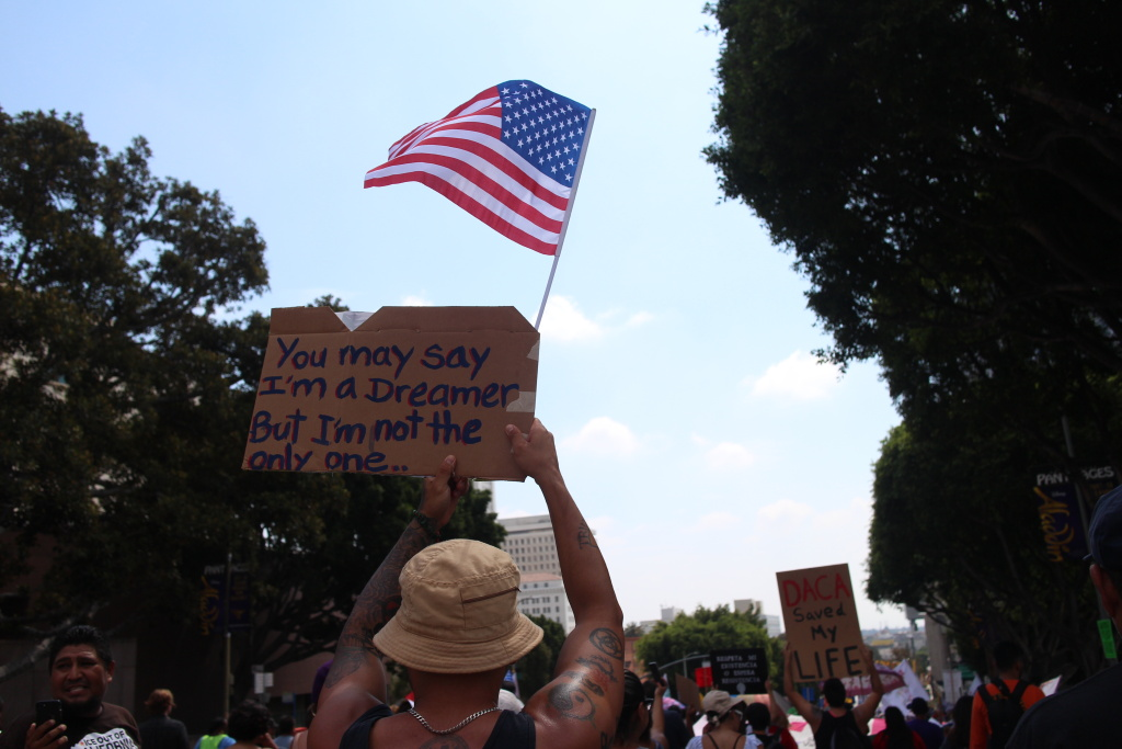 Hundreds in Los Angeles rallied in support of an immigration program President Donald Trump could terminate Tuesday.