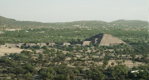 Aerial view of Moon Pyramid, Teotihuacan, Mexico.