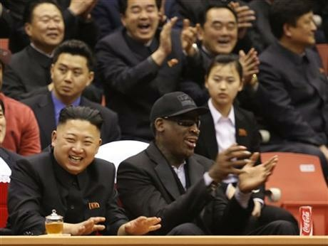 North Korean leader Kim Jong Un, left, and former NBA star Dennis Rodman watch North Korean and U.S. players in an exhibition basketball game at an arena in Pyongyang, North Korea, Thursday, Feb. 28, 2013. Rodman has since returned to North Korea.