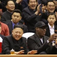 Kim Jong Un, left, and former NBA star Dennis Rodman