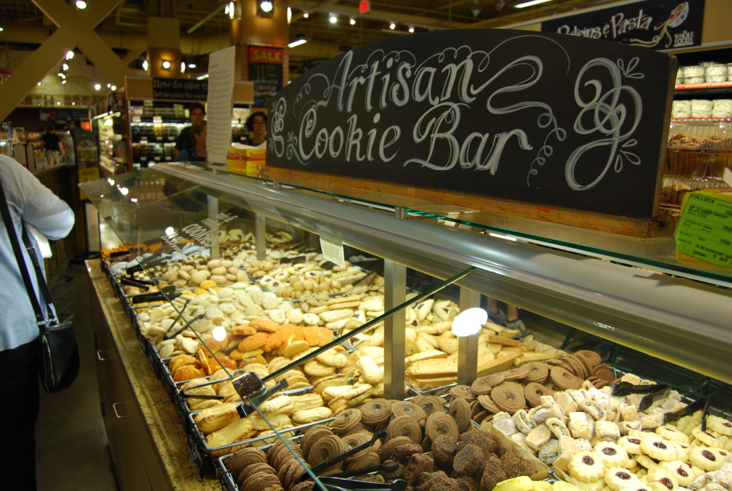 An artisan cookie bar located inside a grocery store.