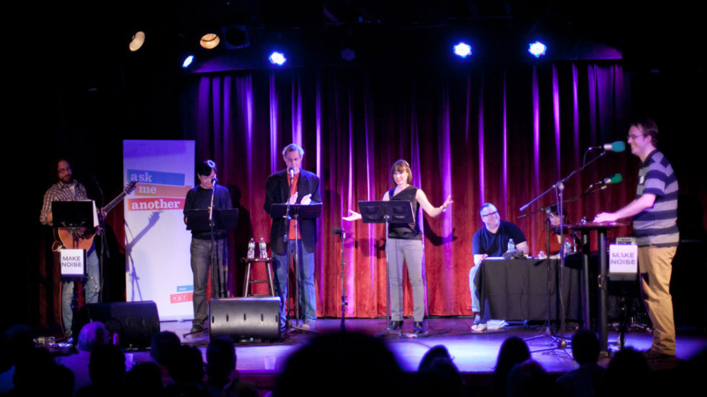 Ophira Eisenberg and the rest of the cast of Ask Me Another at the premiere at the Bell House, Brooklyn, NY.