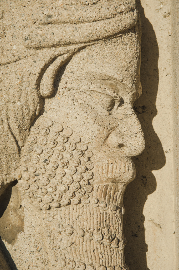 A lamassu modeled on ancient carvings decorates the Citadel Outlets in Commerce, California.