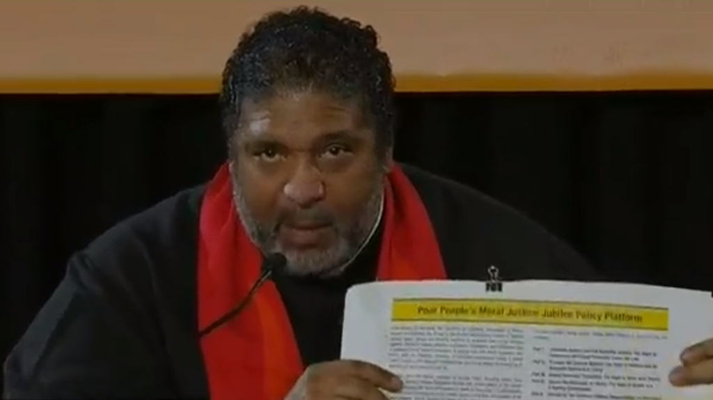 The Rev. William Barber II speaks during the virtual Poor People's Campaign on Saturday.