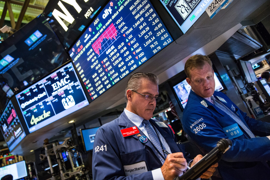 File: Traders work on the floor of the New York Stock Exchange during the afternoon of Aug. 31, 2015 in New York City.