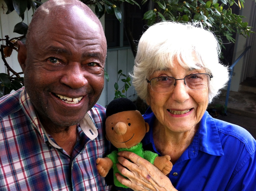 Ken Kelly, Harriet Glickman, and Franklin, the first black peanuts character. Kelly and Glickman wrote to Charles Schulz and convinced him to include a black character.