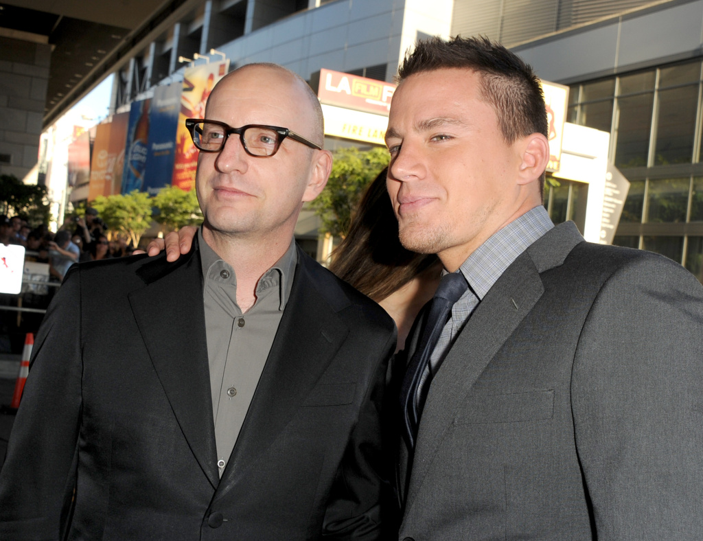 "Director Steven Soderbergh (left) and actor Channing Tatum at the premiere of ""Magic Mike"" during the 2012 Los Angeles Film Festival. Channing also stars in Soderbergh's new film, ""Logan Lucky."""