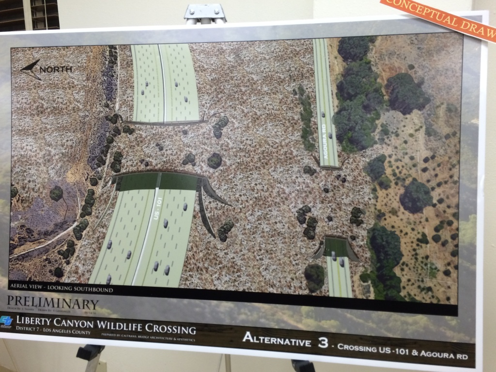 A poster shows an artist's rendering of Alternative 3, which would put a bridge over both the 101-Freeway and Agoura Road.