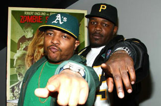 Rappers 40 Glocc & Ray J arrive at the Triumph Films' premiere of 'Zombie Strippers' on April 15, 2008 in Los Angeles, California.