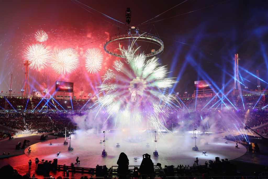 Fireworks explode during the Opening Ceremony of the Pyeongchang 2018 Winter Olympics on February 9, 2018.