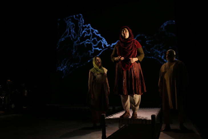 Kamala Sankaram at rehearsal in the Redcat Theatre. She is the composer and the star of the opera