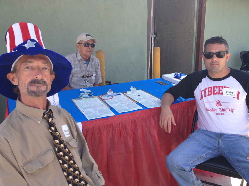 Steve, Nepomuceno Tec, and Phillip Mirenda volunteer to register first-time Filipino voters outside Bahay Kubo Restaurant in Historic Filipinotown.