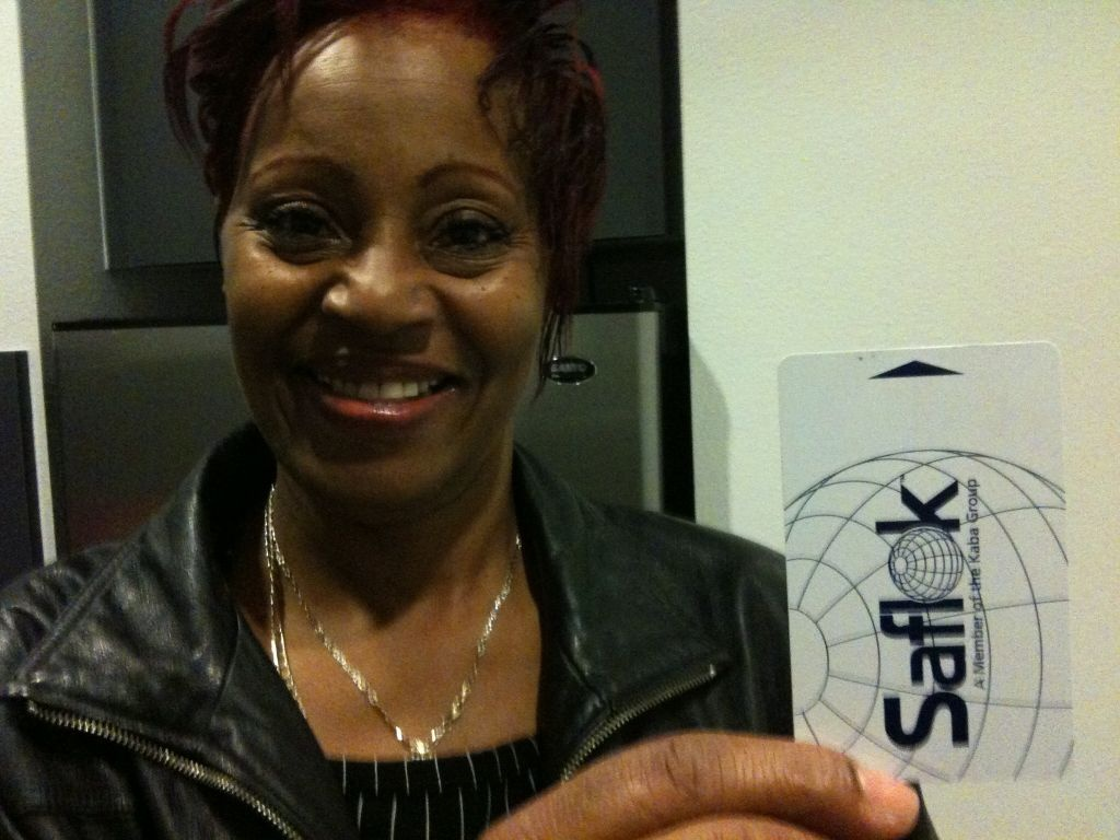 Denise Woodard and her new key.