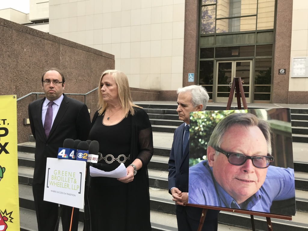 Louise Olin, the widow of Milt Olin, speaks at a news conference addressing the family's nearly $12 million wrongful death settlement with Los Angeles County.