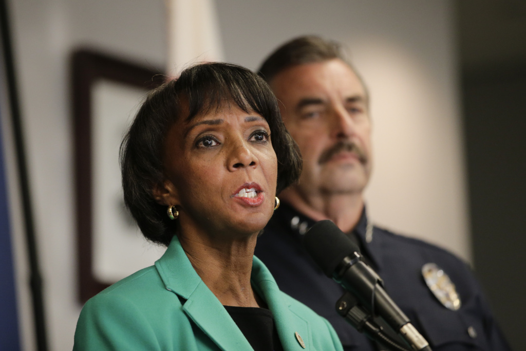 Current Los Angeles County District Attorney Jackie Lacey speaks during a news conference on Nov. 13, 2014, in Los Angeles.