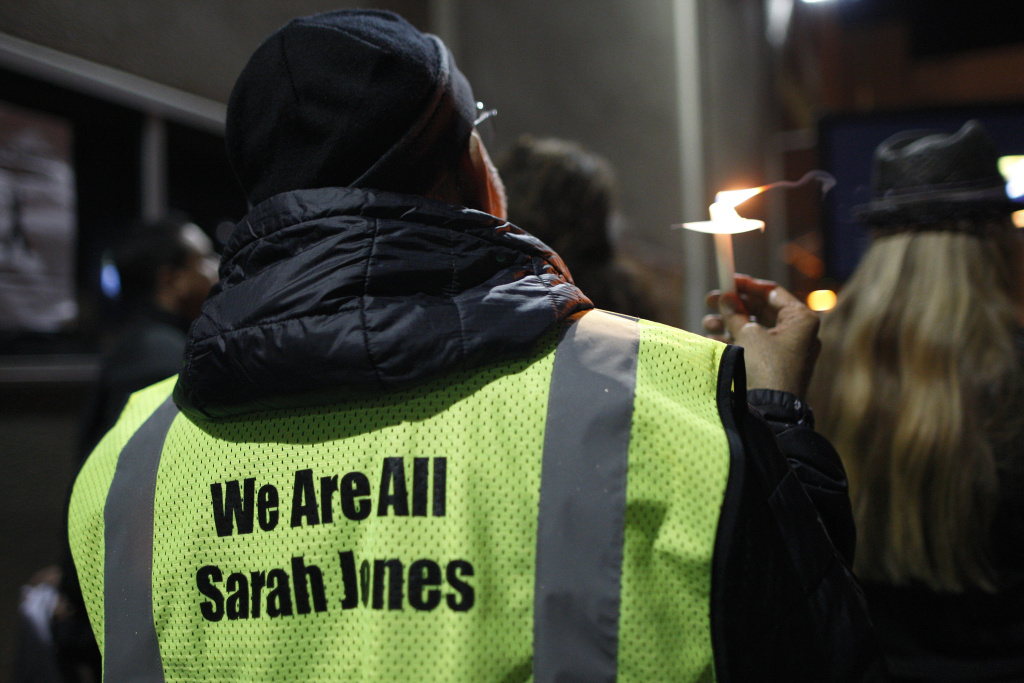People gather at the International Cinematographers Guild national offices during a candlelight walk and memorial for Sarah Jones, an assistant camerawoman who was killed by a train while shooting the Gregg Allman biopic film, Midnight Rider, on March 7, 2014 in Los Angeles, California.