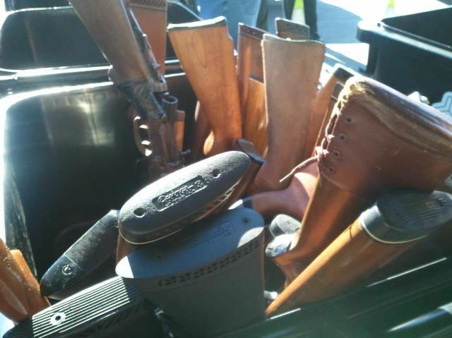 A bucket of shotguns taken during an LAPD gun buyback program in south Los Angeles.