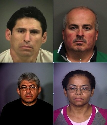These four individuals have all been arrested by Nevada police agencies in the last 12 months on charges relating to practicing medicine without a license. Clockwise: Juan Alberto Ruan-Rivera, Edgar Orozco-Abundis, Carmen Olfidia Torres-Sanchez and Ruben Dario Matallana-Galvas