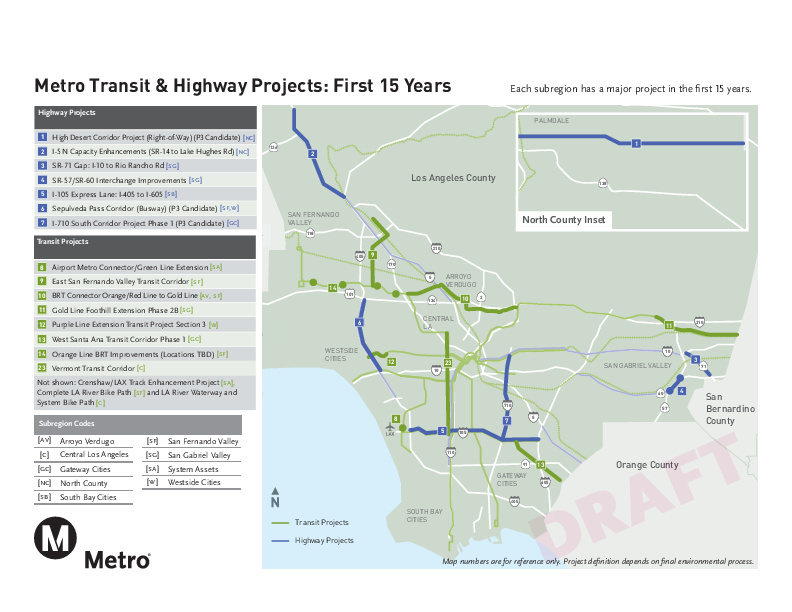 A Metro map shows projects that would be completed within the first 15 years of the 40-year planning period under the latest funding proposal.