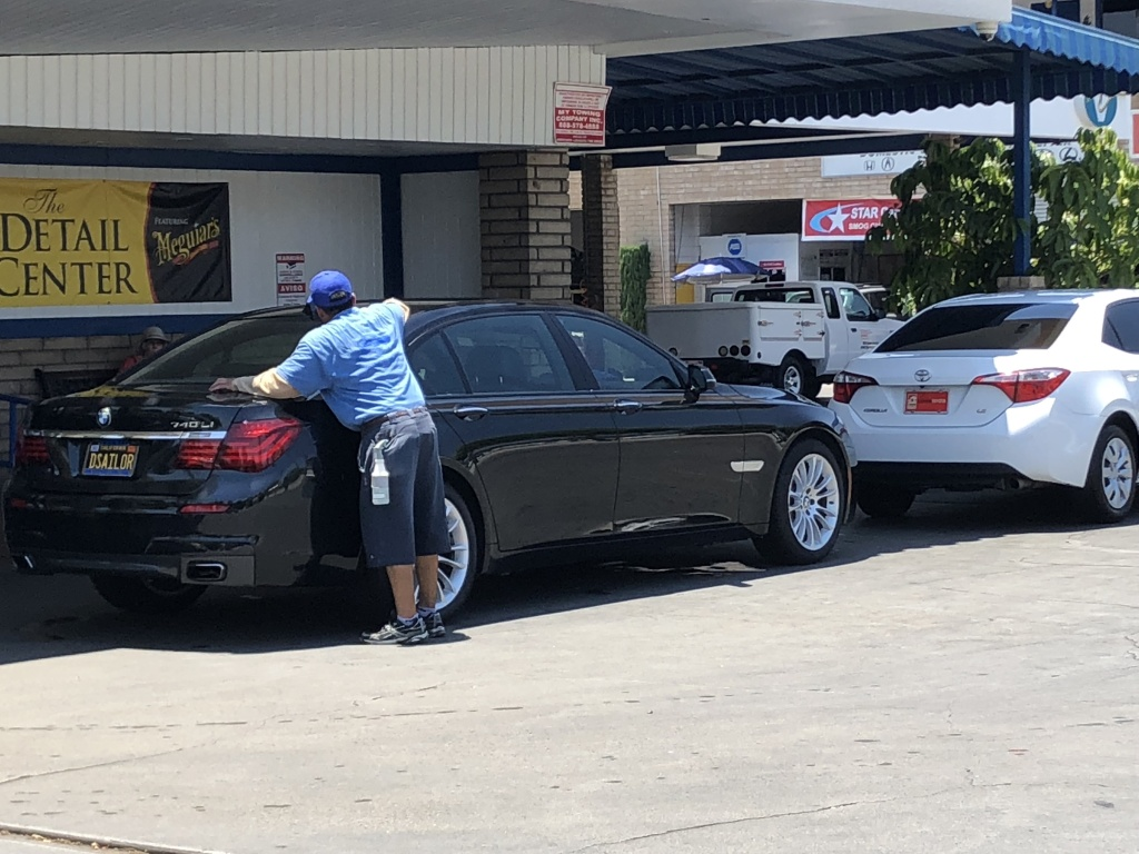 Workers at Arroyo-California Car Wash endure 112 degree heat in Pasadena.