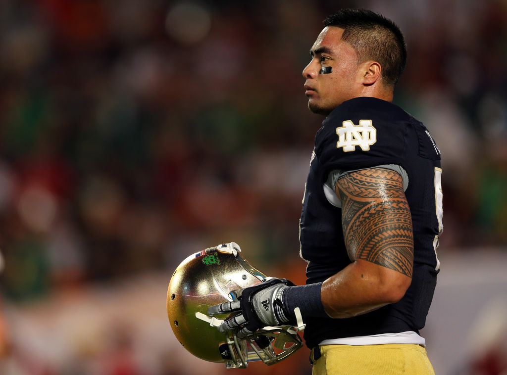 Manti Te'o #5 of the Notre Dame Fighting Irish warms up prior to playing against the Alabama Crimson Tide in the 2013 Discover BCS National Championship game at Sun Life Stadium on January 7, 2013 in Miami Gardens, Florida.