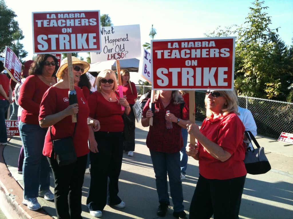 Teachers at La Habra City Schools went on strike after more than a year of failed negotiations with the school district. Administrators imposed a contract with permanent salary cuts. The teachers' union said its' members are willing to accept temporary cuts.