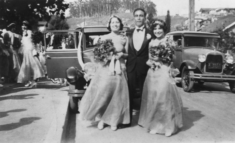 Flora Cano (left) with the best man and another bridesmaid at a wedding in Chavez Ravine in 1929. Courtesy of the Los Angeles Public Library