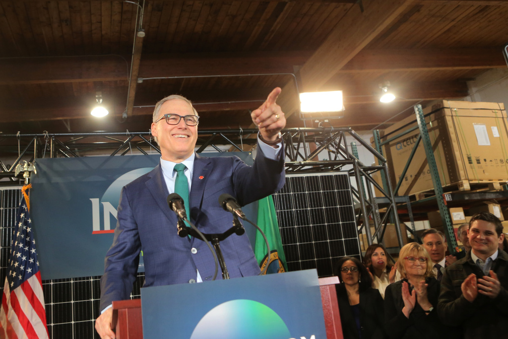 Washington Gov. Jay Inslee announces his run for the 2020 Presidency at A & R Solar on March 1, 2019 in Seattle, Washington.