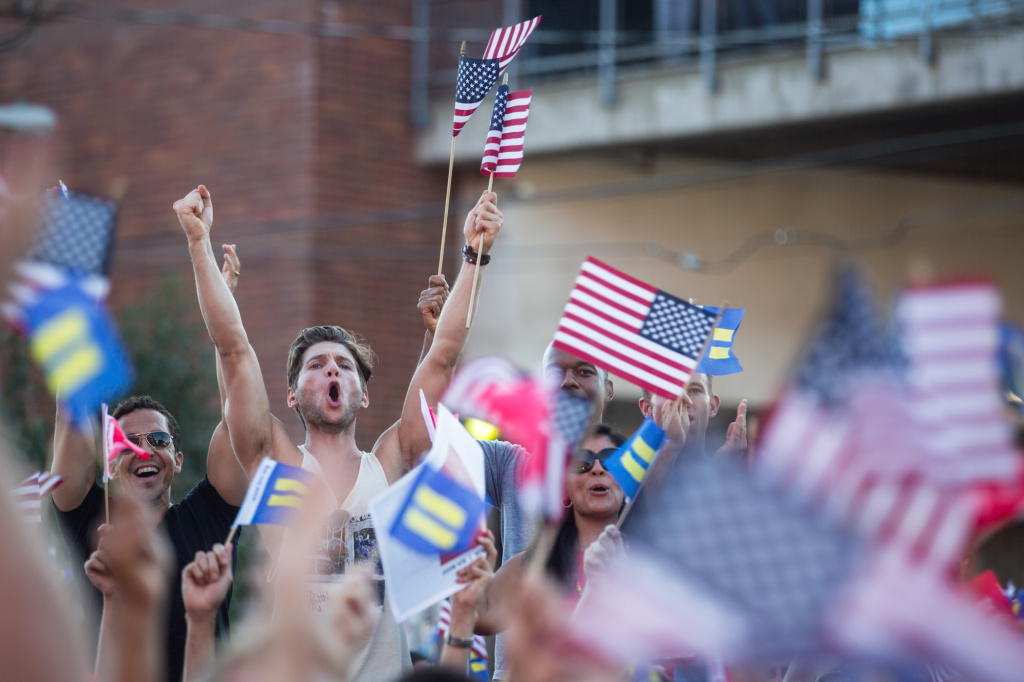 Supporters of gay marriage celebrate a Supreme Court victory in West Hollywood on Wednesday.