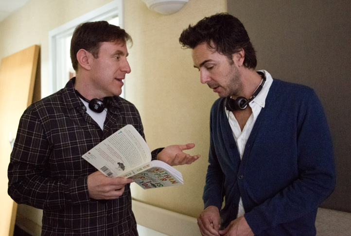 "Screenwriter/novel author Jonathan Tropper (L) and director Shawn Levy (R) on the set of Warner Bros. Pictures' dramatic comedy ""THIS IS WHERE I LEAVE YOU."""
