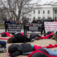 "Anti-Abortion Advocates Stage ""Die-In"" Protest Across From White House"