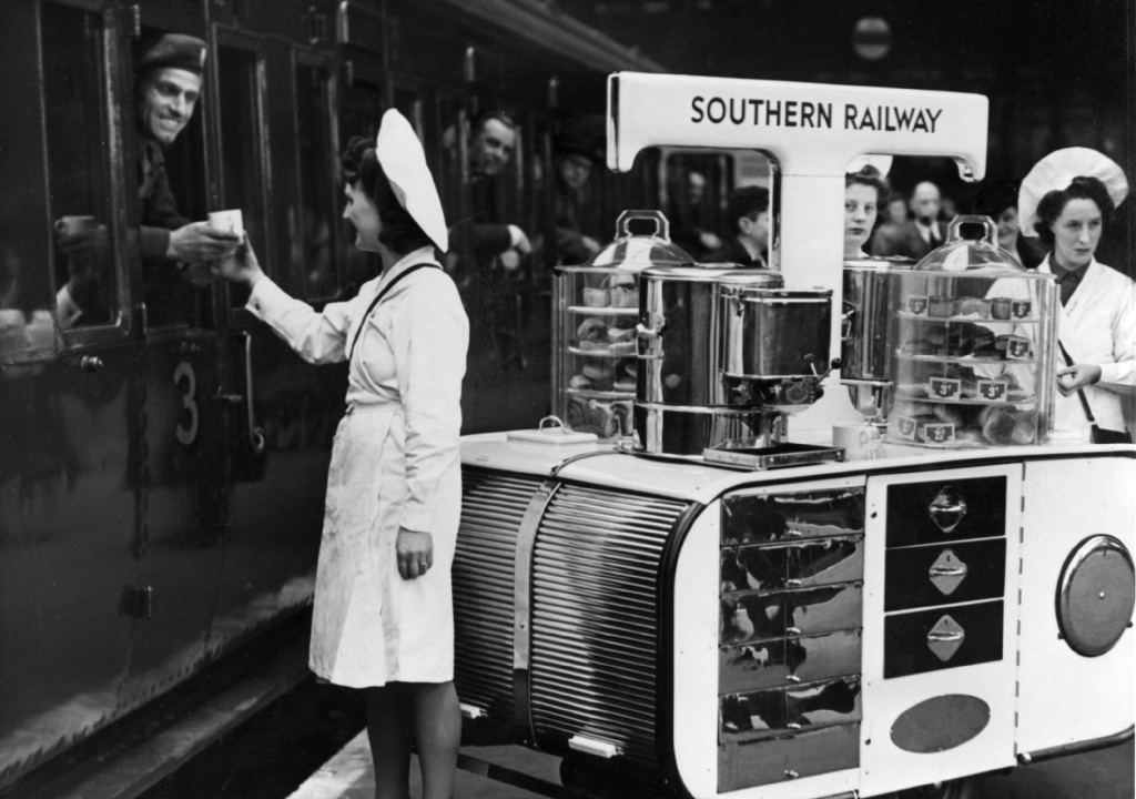 One of the Southern Railway's new tea trolleys in service at Waterloo Station, London on March 1, 1946.