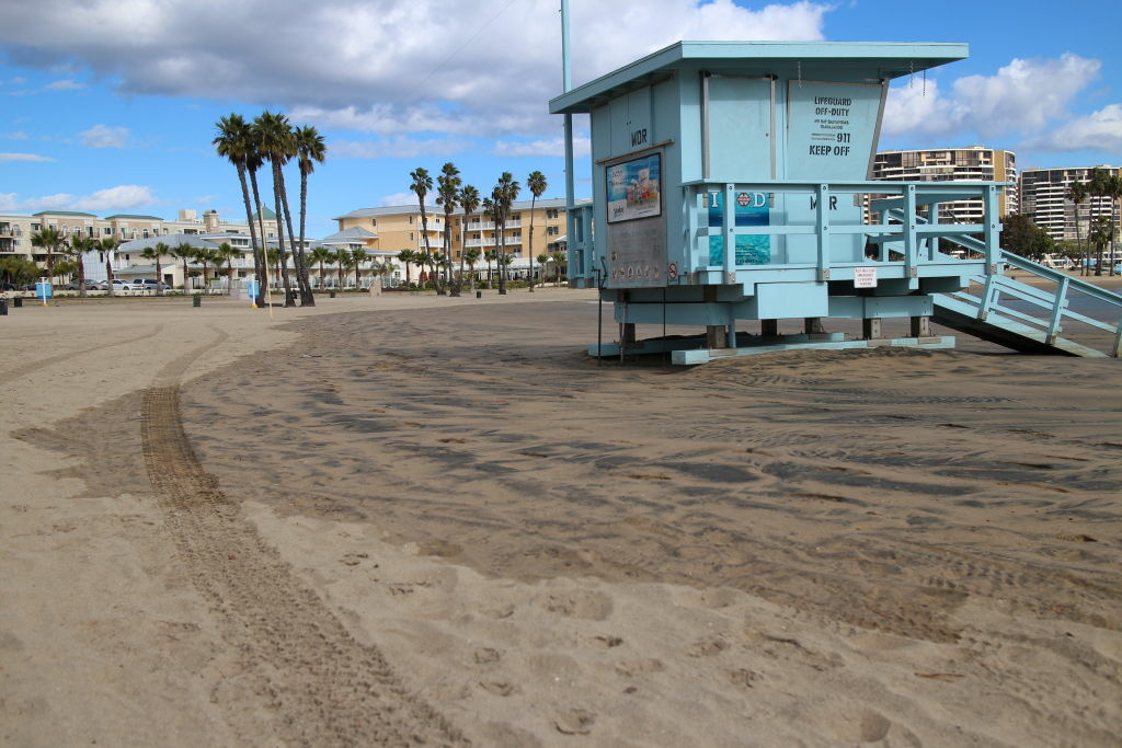 At Mother's Beach on January 10, high tide extended well past the lifeguard station.