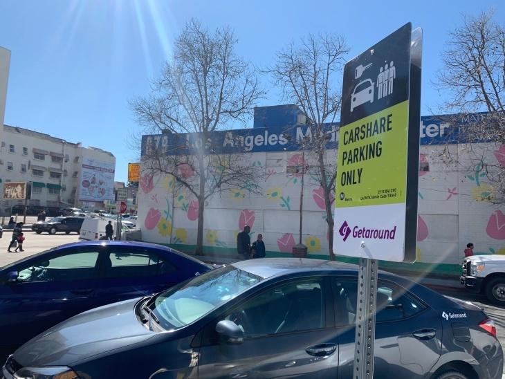 Car share parking at the Westlake/MacArthur Park Station