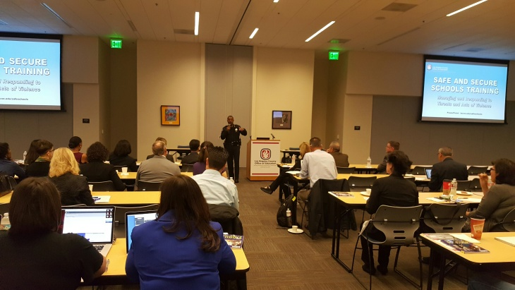 Los Angeles County school administrators take a safety workshop in what to do in situations like when there's an active shooter or when schools get bomb threats at the LACOE in Downey.