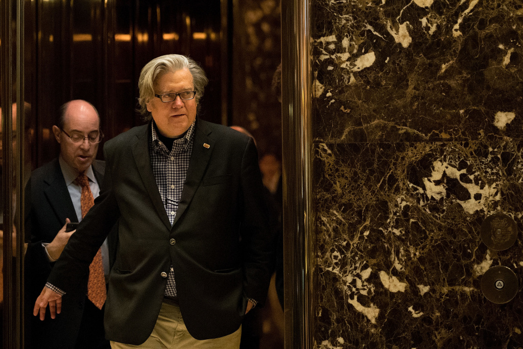 Trump campaign CEO Steve Bannon exits an elevator in the lobby of Trump Tower, November 11, 2016 in New York City.